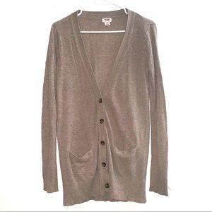 Brown V Neck Long Sleeve Cardigan